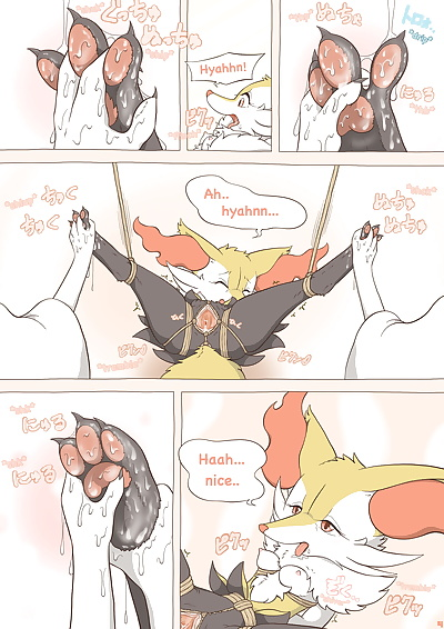english manga Tied Flame, braixen , anal , full color  footjob